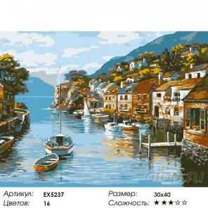 Количество цветов и сложность Город у моря Раскраска картина по номерам на холсте