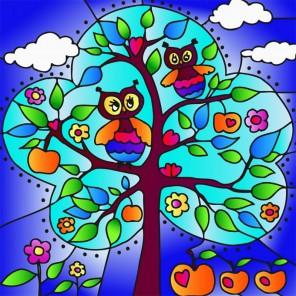 Совы и яблоки Набор с рамкой для создания картины-витража Color Kit