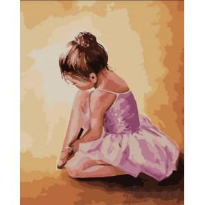 Балерина малышка Раскраска картина по номерам на холсте Menglei