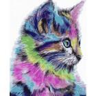 Разноцветный котенок Раскраска по номерам на холсте Menglei