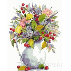 Букет с одуванчиками и ягодами Раскраска картина по номерам на холсте Menglei