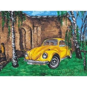 Желтое авто среди берез Раскраска картина по номерам на холсте Menglei