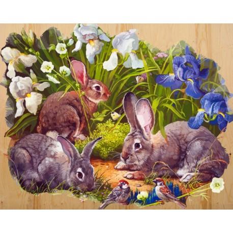 Кролики и воробышек Картина по номерам на дереве