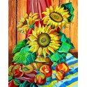 Натюрморт с подсолнухами Алмазная картина-раскраска Color Kit