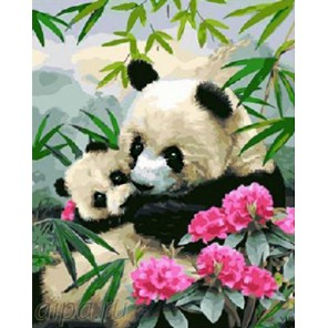 Панда с малышом Раскраска картина по номерам на холсте