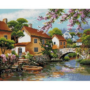 Деревенька у канала Алмазная мозаика вышивка на подрамнике Painting Diamond