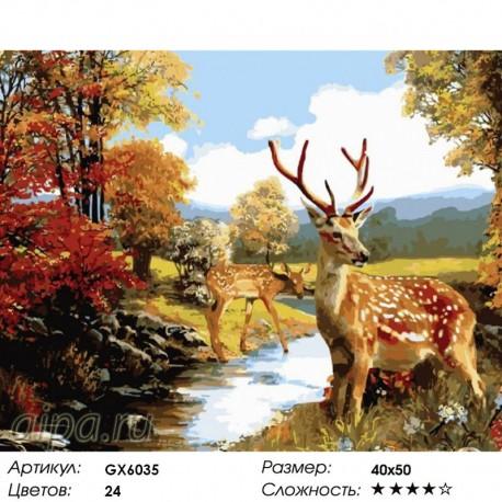 Раскраска по номерам Олени в осеннем лесу картина 40х50 см ...