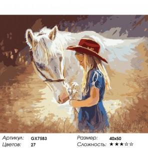 Количество цветов и сложность Девочка с лошадкой Раскраска картина по номерам на холсте