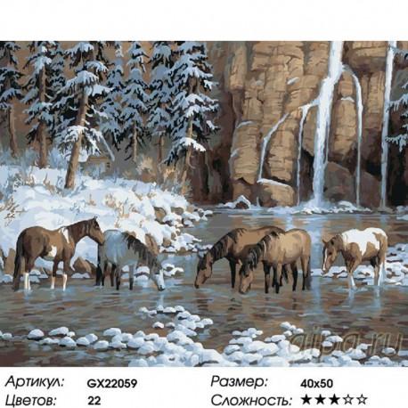 Количество цветов и сложность Кони на водопое Раскраска картина по номерам на холсте