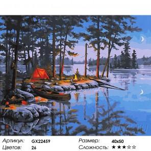 Палатка у озера Раскраска картина по номерам на холсте