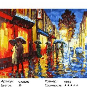 Количество цветов и сложность Дождь в огнях витрин Раскраска картина по номерам на холсте