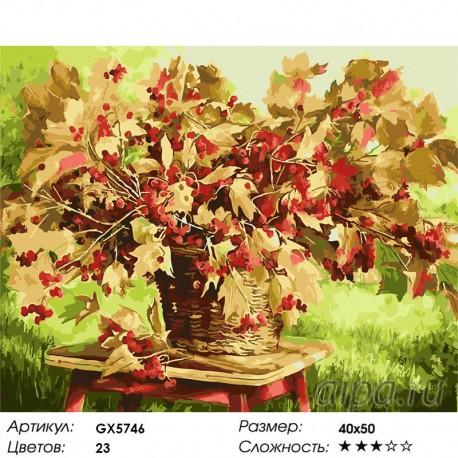 Количество цветов и сложность Рябиновый букет Раскраска картина по номерам на холсте