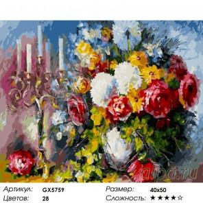 Количество цветов и сложность Свечи и розы Раскраска картина по номерам на холсте