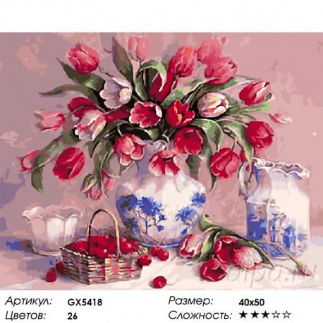 Тюльпаны и вишни Раскраска картина по номерам на холсте ...