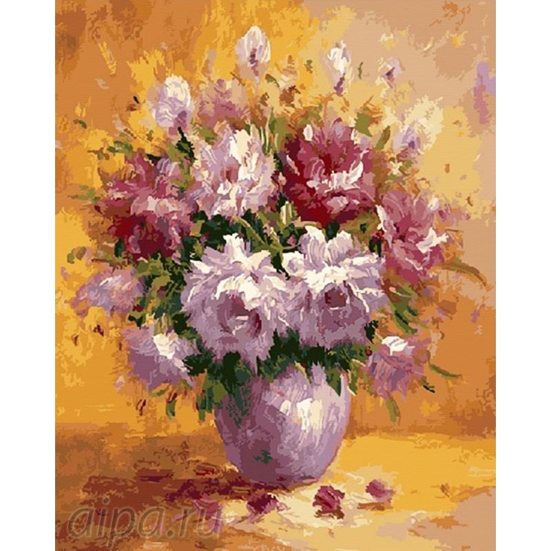 Пионы в розовой вазе Раскраска картина по номерам на ...