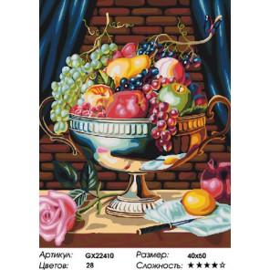 Количество цветов и сложность Фруктовая ваза Раскраска картина по номерам на холсте
