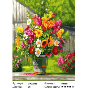 Букет ярких цветов Раскраска картина по номерам на холсте