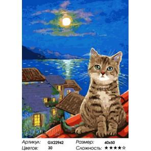Котенок и луна Раскраска картина по номерам на холсте