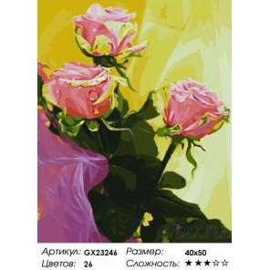 Количество цветов и сложность Розовый букет Раскраска картина по номерам на холсте