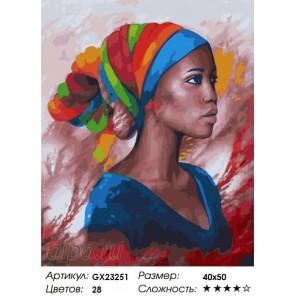Портрет Африканки Раскраска картина по номерам на холсте