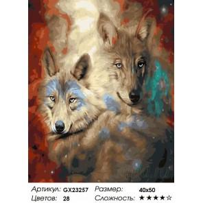Звездные волки Раскраска картина по номерам на холсте