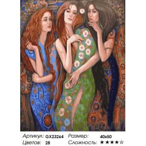 Количество цветов и сложность Три девушки Раскраска картина по номерам на холсте