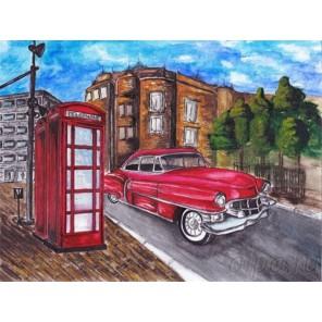 Красный автомобиль у телефонной будки Алмазная мозаика на подрамнике