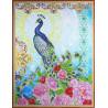 Павлин в цветах Алмазная мозаика на подрамнике