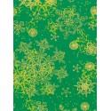 Снежинки на зеленом Бумага для декопатча Decopatch