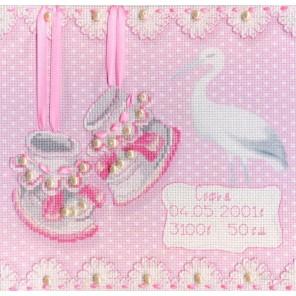 На рождение девочки диз.канва+мулине+ленты+бусины Набор для вышивания МП Студия