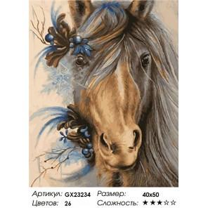 Количество цветов и сложность Лошадь нарядная Раскраска картина по номерам на холсте