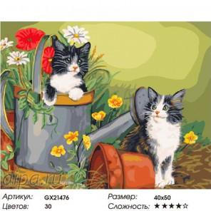 Количество цветов и сложность Котята в саду Раскраска картина по номерам на холсте