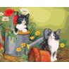 Котята в саду Раскраска картина по номерам на холсте