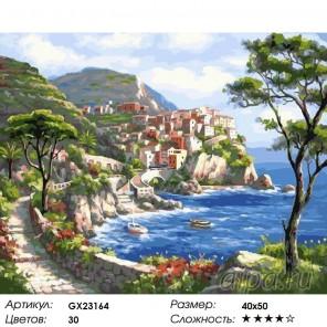 Количество цветов и сложность Городок на солнечном побережье Раскраска картина по номерам на холсте