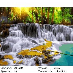 Лесные водопады Раскраска картина по номерам на холсте