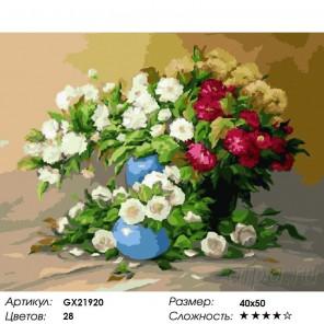 Вазы с цветами Раскраска картина по номерам на холсте