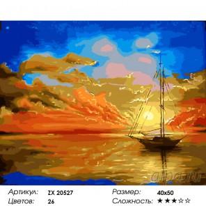Закат на море Раскраска картина по номерам на холсте