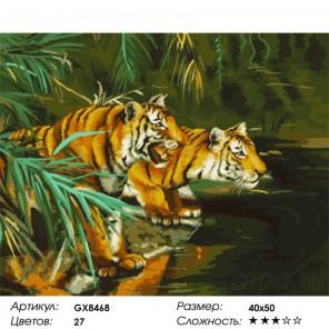 Количество цветов и сложность Тигры у воды Раскраска картина по номерам на холсте