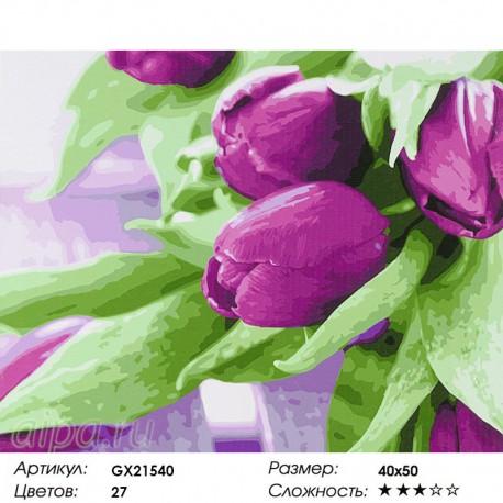 Фиолетовые тюльпаны Раскраска картина по номерам на холсте ...