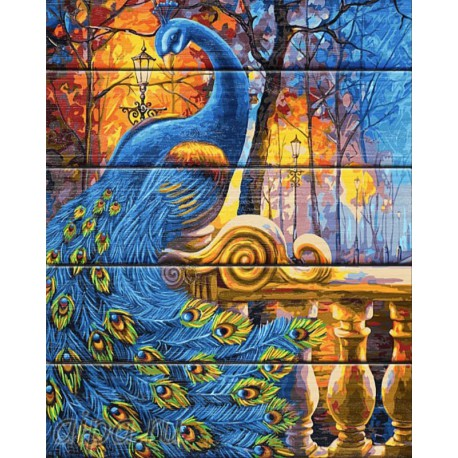 Сказочный павлин Картина по номерам на дереве Dali
