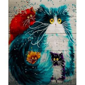 Желтоглазые котики Картина по номерам на дереве
