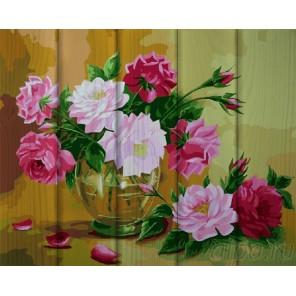 Кустовая роза в вазе Картина по номерам на дереве