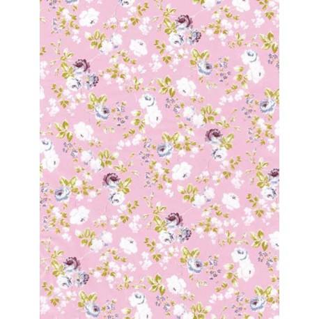 Цветы и розочки на розовом Бумага для декопатча Decopatch