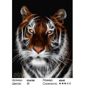 Количество цветов и сложность Спокойствие тигра Раскраска картина по номерам на холсте