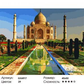 Тадж-Махал. Индия Раскраска картина по номерам на холсте