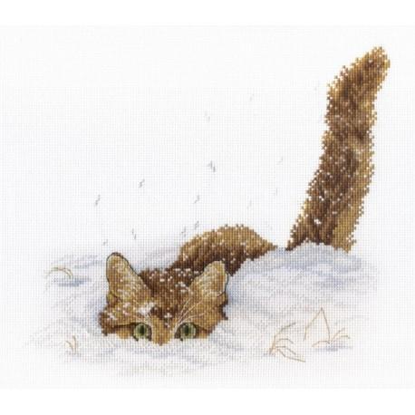 Кот в снегу Набор для вышивания МП Студия