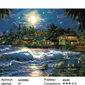 Ночной шторм Раскраска картина по номерам на холсте