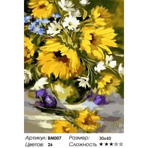 Сложность и количество цветов Букет подсолнухов Раскраска - открытка по номерам с декором Color Kit BM007