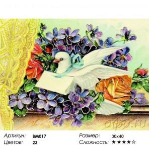 Сложность и количество цветов Весточка с любовью Раскраска - открытка по номерам с декором Color Kit BM017
