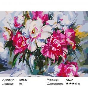 Сложность и количество цветов Букет пионов Раскраска - открытка по номерам с декором Color Kit BM024